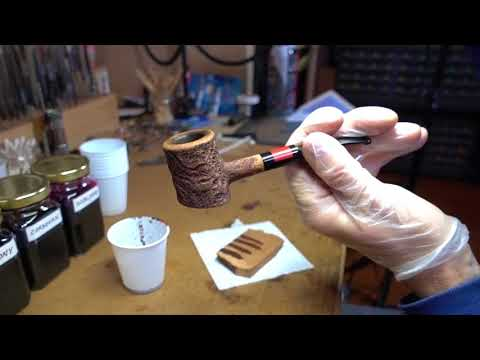 Replacing a High Grade Pipe Stem PART 20 -- Clean stummel, apply understain