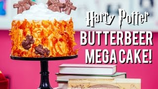 How to Make a HARRY POTTER BUTTERBEER MEGA CAKE! Caramel Cobwebs, Butterscotch Buttercream and more!