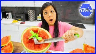 Kitchen Gadgets Put To The Test with Ryan's Mommy! How to Cut Watermelon AS SEEN ON TV!