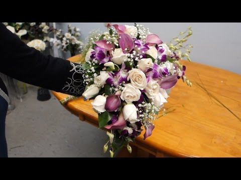 How to Make a Cascading Bridal Bouquet with Roses, Orchids and Calla Lilies