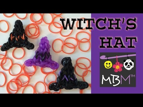 Rainbow Loom Band Wicked Witch Hat Charm for Halloween