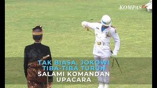 Tak Biasa, Jokowi Tiba-Tiba Turun dan Salami Komandan Upacara HUT Kemerdekaan RI