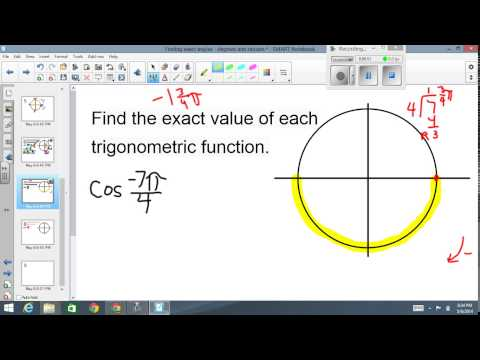 Finding exact values Radians
