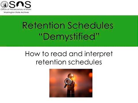 Retention Schedules Demystified
