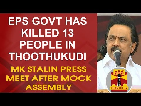 EPS Govt has killed 13 people in Thoothukudi - MK Stalin Press Meet after Mock Assembly