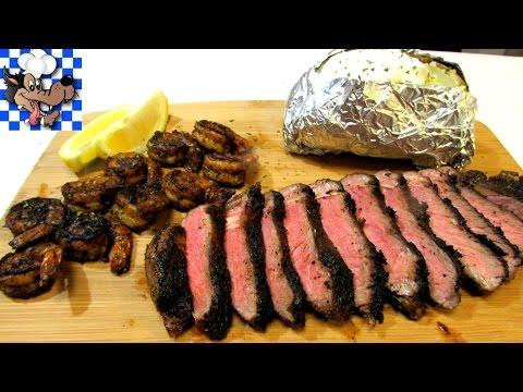 Cajun Blackened Surf and Turf - Steak and Shrimp Dinner