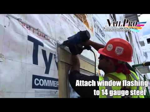 Attach window flashing to 14 gauge steel