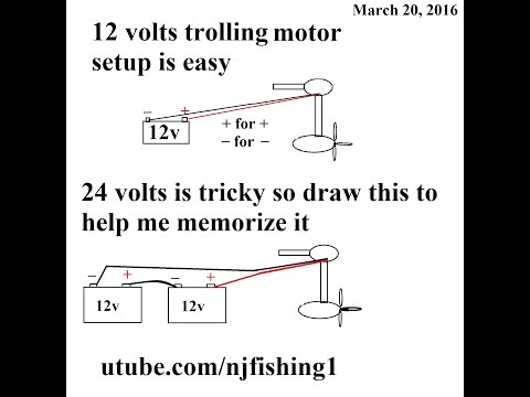 How to connect 12v/24v Trolling motor with 1 and 2 batteries?
