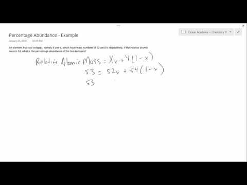 Chemistry 11 - Percentage Abundance - Example