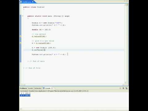 Java tutorial in Eclipse (wrapper class Double) - double values in Java