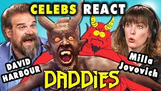 CELEBS REACT TO DADDIES (ft. HELLBOY Cast David Harbour & Milla Jovovich)