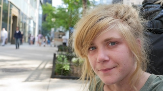 Young Homeless Girl Living on the Streets of New York City.