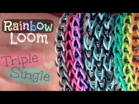 RAINBOW LOOM : Triple Single Bracelet - How To | SoCraftastic
