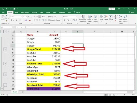 How to Do Subtotals in MS Excel 2003-2016 (Easy)