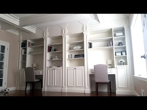 Custom kid desks and home library by Carpentry Masters