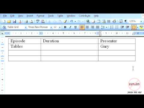 Word 2003: Introduction to Tables