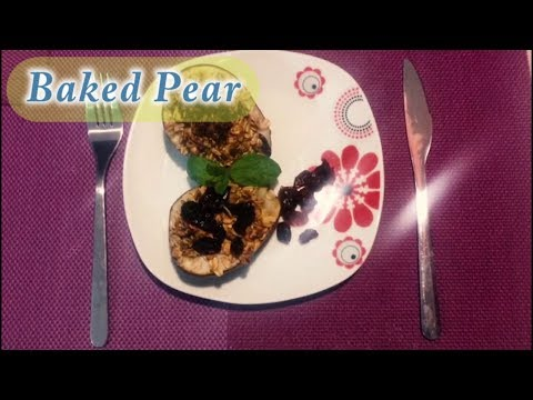 Baked Pear Dessert Recipe ( with Oats and Cranberry )