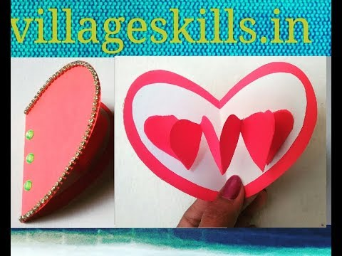 DIY pop up 3d heart greeting card for valentineday/women's day/Mother's day/Father's day,paper craft