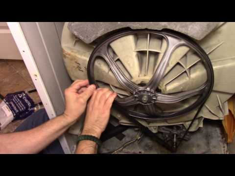 Washer Repair Drive Belt Replacement (Squeak, Squeal, No tumble Spin Spinning) Frigidaire FWT449GFS2