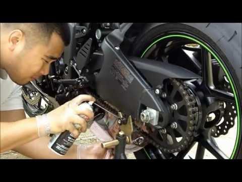 How To Lube Motorcycle Chain DIY 2009 Kawasakin Ninja ZX6R Monster Edition Sportbike Maintainance