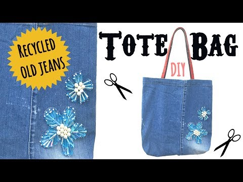 DIY Tote Bag Tutorial | Recycle Old Jeans | Make a Tote Bag