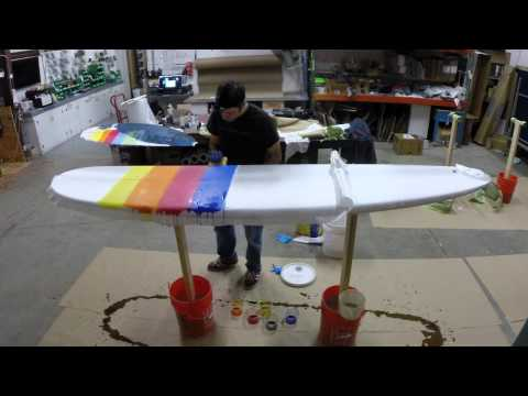 Glassing a Surfboard with a Multicolor Tint Lam (Stop Motion)
