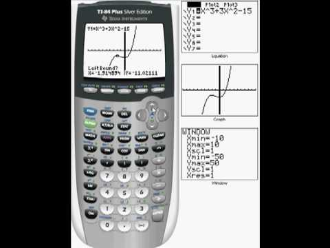 TI-84 plus graph local max, min, x-intercept(s), y-intercept