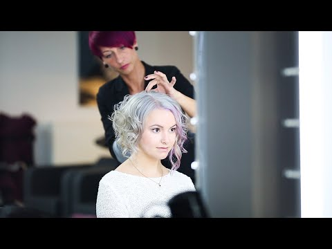 Long Bob Haircut, grannny hair makeover, grey, pink & purple grey haircolour by anja herrig