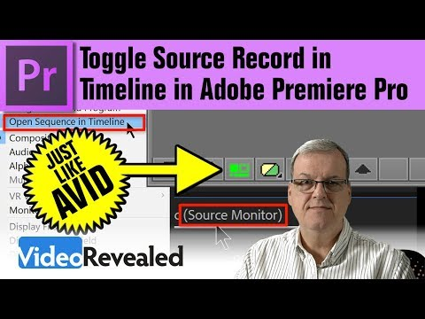 Toggle Source Record in Timeline in Adobe Premiere Pro