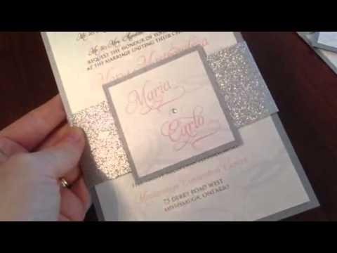 Glitter belly band wedding invitations