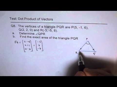 Find Area of Right Triangle Triangle with Vectors and Dot Product