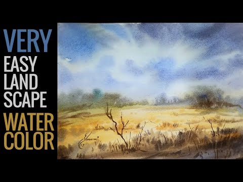 Very easy watercolor painting for beginners - watercolor tutorial for beginners in urdu hindi