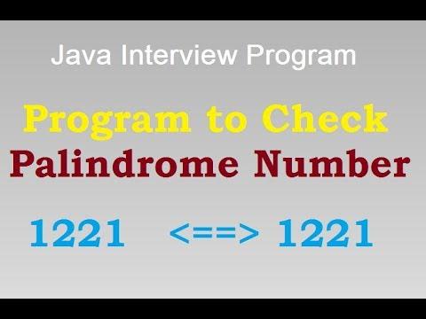 Palindrome Number Program in Java || Program in java To check Palindrome Number