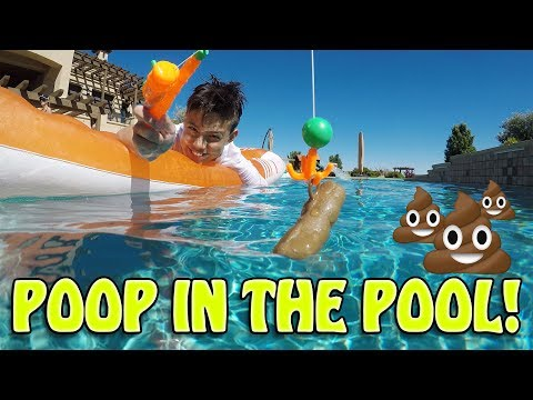 FISHIN' FOR FLOATERS!!! Pool Poop Challenge Game!