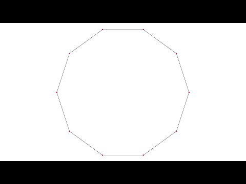 Drawing of a regular decagon inscribed in a circle