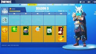 "*NEW* SEASON 5 ""Max Battle Pass"" TIER 100 UNLOCKING! (Fortnite Battle Royale Season 5 Map Changes)"