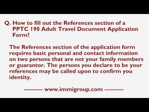 How to fill out the References section of a PPTC 190 Adult Travel Document Application Form?