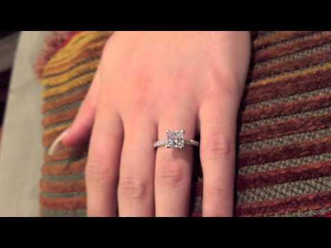 1.5 Carat Princess Cubic Zirconia Engagement Ring Pave 14K White Gold 8432E