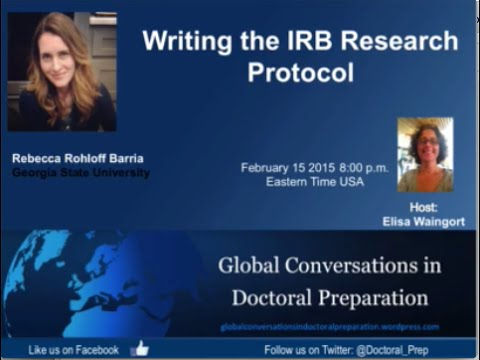 Rebecca Rohloff Barria – Writing the IRB Research Protocol