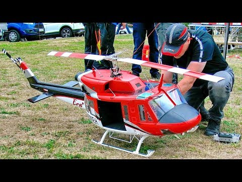 AMAZING HUGE RC BELL-212 ERA ELECTRIC SCALE MODEL HELICOPTER FLIGHT DEMONSTRATION