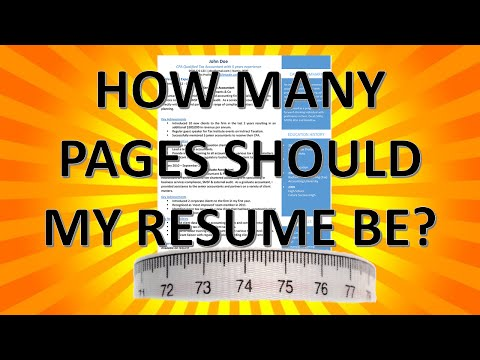 Resume Writing: How many pages should my resume be?