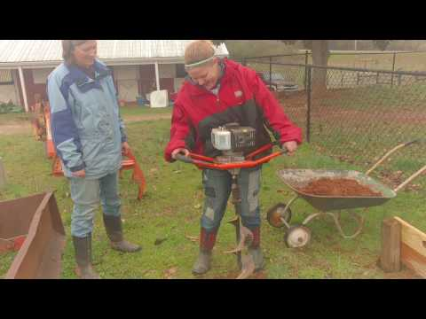 Powermate 43cc Earth Auger Post Hole Digger - 12 year old daughter