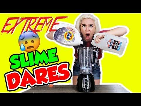 EXTREME SLIME DARES! MAKING SLIME IN A BLENDER?!