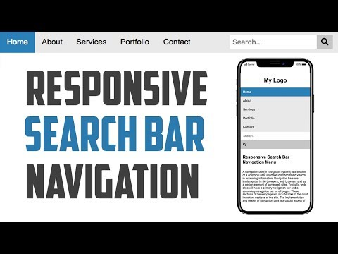 Responsive Search Bar Navigation Menu Tutorial with HTML5 and CSS3