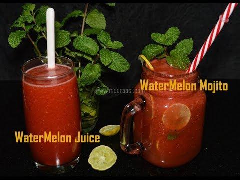 Watermelon Mojito recipe / How to make watermelon juice / Summer Tharpoosani juice   Madraasi