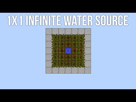 SMALLEST 1x1 Infinite Water Source [3x5x6 = 90 Blocks!] w/ Eniallator!