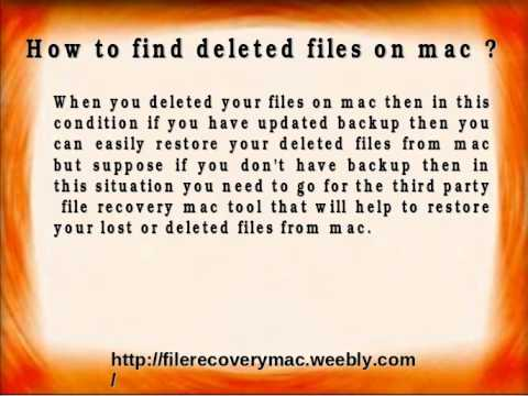 How to find deleted files on mac operating system ?