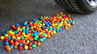 Experiment Car vs M&Ms Candy | Crushing Crunchy & Soft Things by Car!