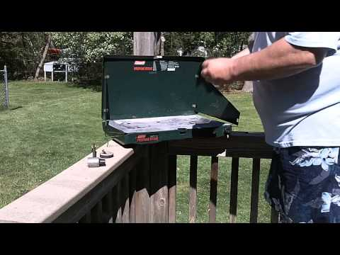 Cleaning a Coleman model 5430 2-burner (propane) camp stove.
