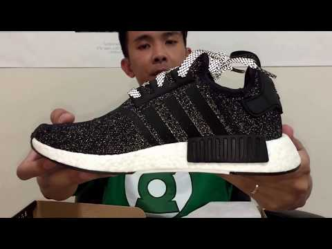 Adidas NMD Black/White with Black Tabs and 3M speckles unbox and on feet review